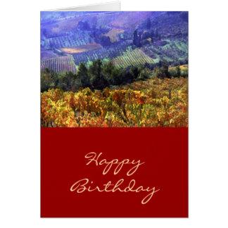 Temps de récolte à l'anniversaire de vignoble carte de vœux