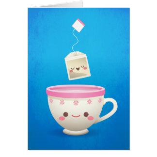 Temps de thé de Kawaii Cartes De Vœux