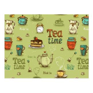 Temps de thé et de thé de miel en vert cartes postales