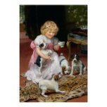 Temps de thé pour la copie vintage de chien de chi posters
