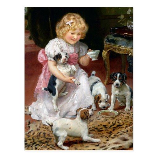 Temps de thé pour l'art vintage de chien de chiots carte postale