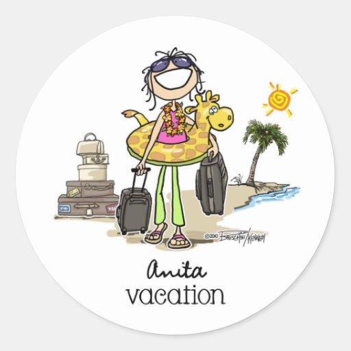Temps de vacances - filles adhésifs ronds