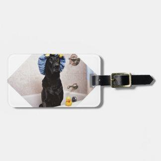 Temps drôle de Bath de laboratoire de chien noir Étiquette À Bagage