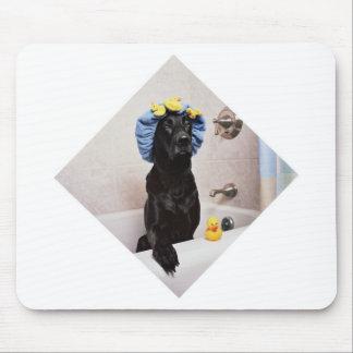 Temps drôle de Bath de laboratoire de chien noir Tapis De Souris