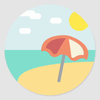 Temps Emoji de plage Sticker Rond