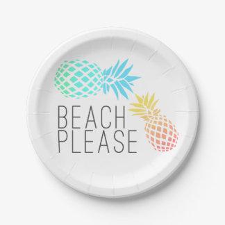 """tendant l'été """"plage svp"""", ananas coloré assiettes en papier"""