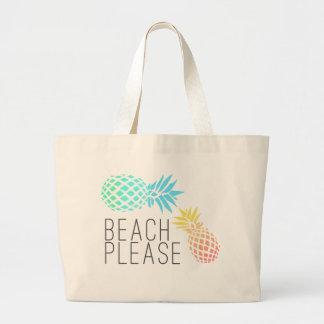 """tendant l'été """"plage svp"""", ananas coloré grand sac"""