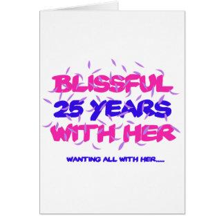 Tendre des 25èmes conceptions d'anniversaire de carte de vœux