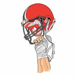 tenir la conception élevée du football de casque photo sculpture