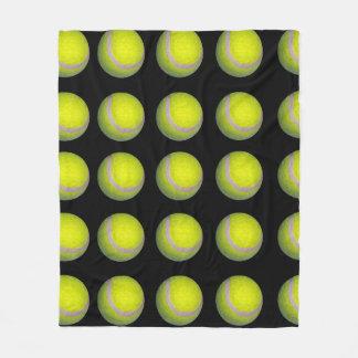 Tennis_balls, _Yellow_Black_Medium_Fleece_Blanket. Couverture Polaire