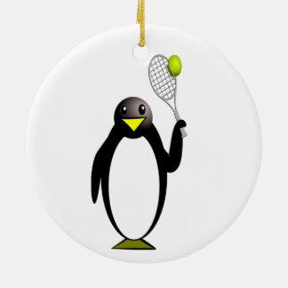 Tennis de pingouin ornement rond en céramique