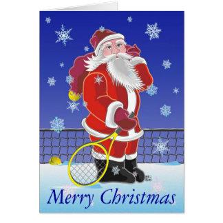 Tennis Père Noël bonnes fêtes personnalisé Carte De Vœux