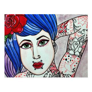 tentatatrice tatouée carte postale