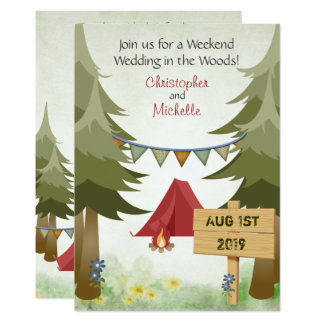 Tentes et invitation de mariage de camping de