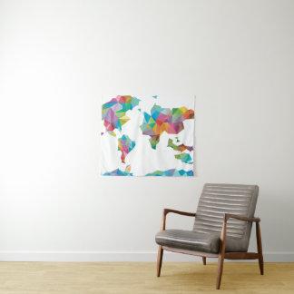 Tenture Carte du monde faite de formes géométriques