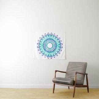 Tenture Mandala floral ethnique de grunge de turquoise