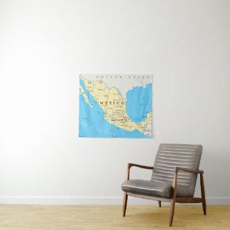 Tenture Murale Carte politique du Mexique