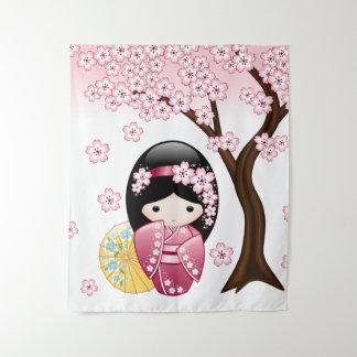 Tenture Poupée de Kokeshi de ressort - fille de geisha