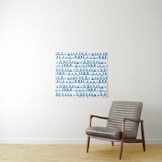 Tenture Profil onduleux d'aquarelle bleue peinte à la main