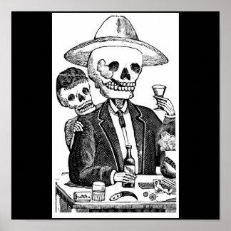 Tequila et tabagisme potables squelettiques affiche