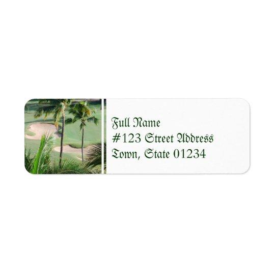 Terrain de golf dans des étiquettes postales de tr