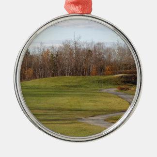 Terrain de golf ornement rond argenté