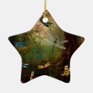 Terrain de jeu de libellule ornement étoile en céramique