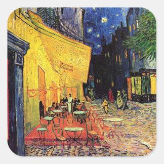 Terrasse de café de nuit de Van Gogh sur l'endroit Autocollants Carrés