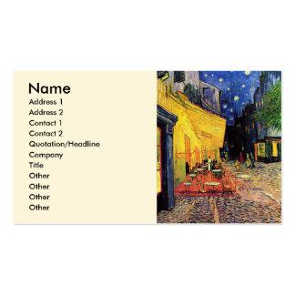 Terrasse de café de nuit de Van Gogh sur l'endroit Carte De Visite Standard