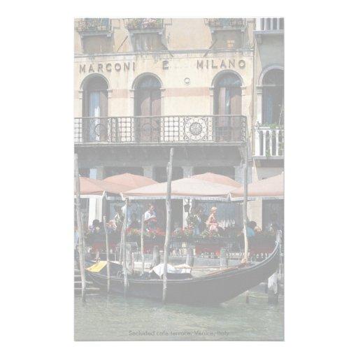 Terrasse reculée de café, Venise, Italie Papiers À Lettres