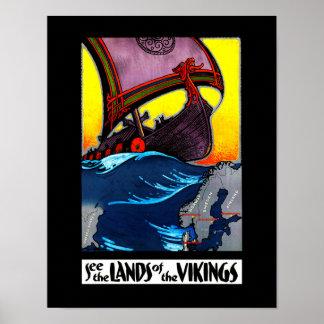 Terres de l'affiche de Vikings Poster