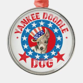 Terrier chauve américain patriotique ornement rond argenté