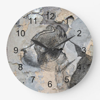 Terrier grunge de Pitbull Grande Horloge Ronde