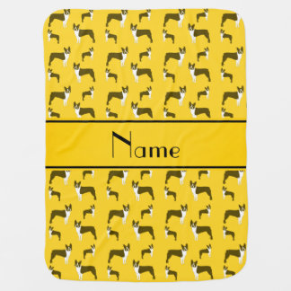 Terrier jaune nommé personnalisé de Boston Couverture Pour Bébé