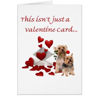 Terrier soyeux rose et coeurs Valentine Cartes