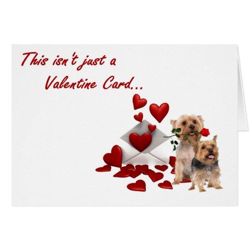 Terrier soyeux rose et coeurs Valentine Cartes De Vœux