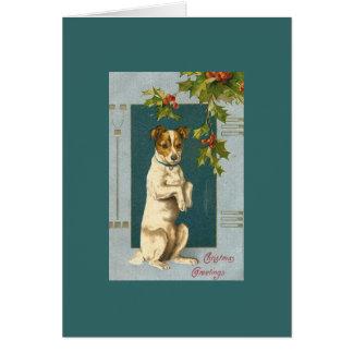 Terrier vintage et houx carte de vœux