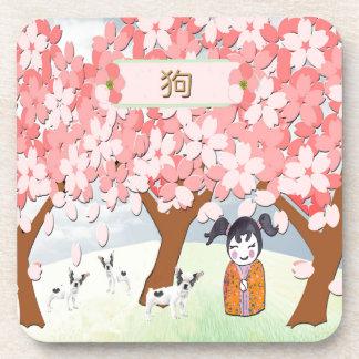 Terriers de Jack Russell, fille chinoise, prunier Dessous-de-verre