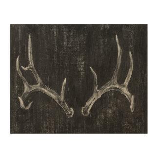 Tête animale de cerfs communs rustiques sur le art mural sur bois
