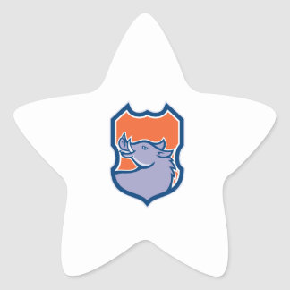 Tête de balénoptère recherchant le bouclier rétro stickers en étoile