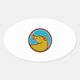 Tête de balénoptère recherchant le cercle rétro sticker ovale