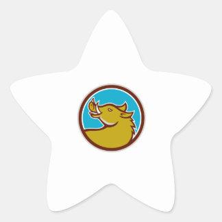 Tête de balénoptère recherchant le cercle rétro autocollant en étoile
