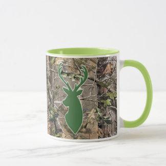 Tête de cerfs communs de vert de camo de région mug