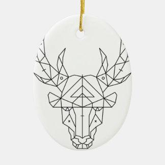 Tête de cerfs communs ornement ovale en céramique