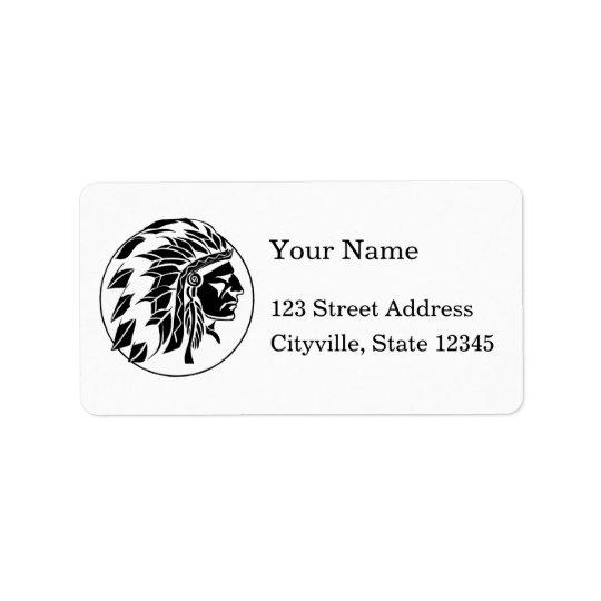 Tête de chef indien étiquette d'adresse