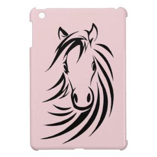 Tête de cheval noire sur le rose étui iPad mini