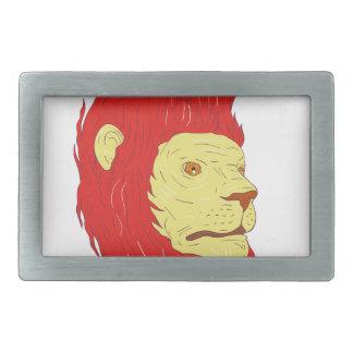 Tête de lion avec le dessin débordant de crinière boucles de ceinture rectangulaires