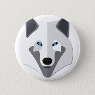 Tête de loup blanc de bande dessinée badges