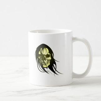 Tête de mort crâne de cheveux skull hair mug blanc