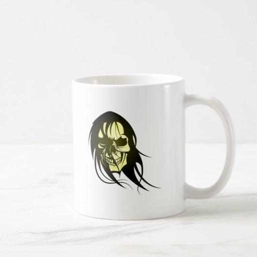 Tête de mort crâne de cheveux skull hair tasse à café